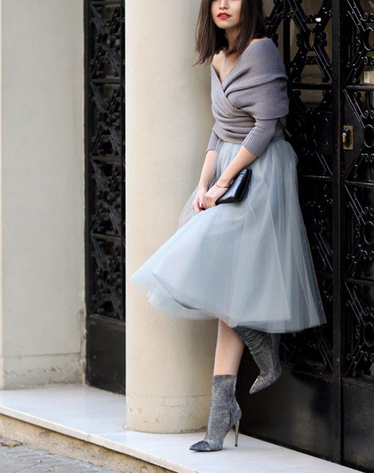 tulle skirt with sweater blogger