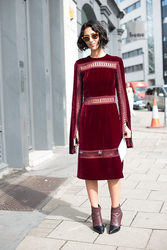 velvet dress with boots getty images
