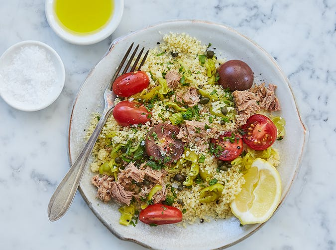 15 Minute Mediterranean Couscous with Tuna and Pepperoncini