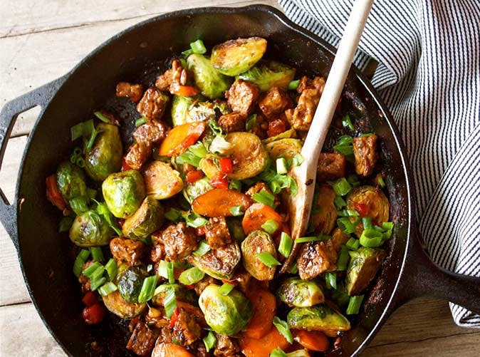 20 minute brussels sprouts tempeh stir fry 501