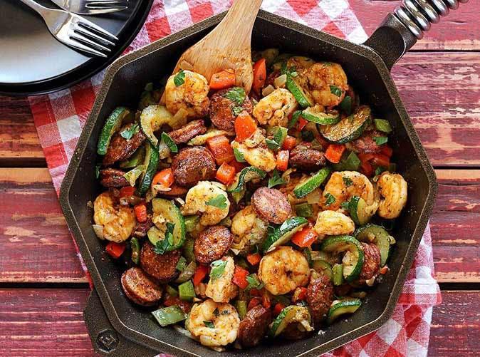 20 minute shrimp sausage stir fry 501