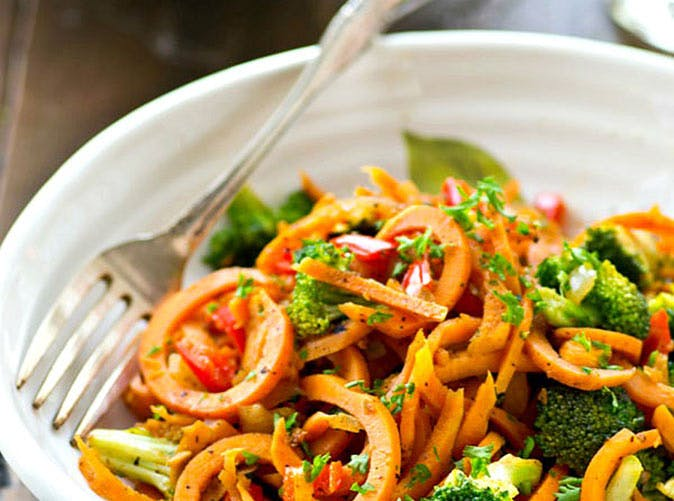20 minute vegetarian sweet potato noodles stir fry 501