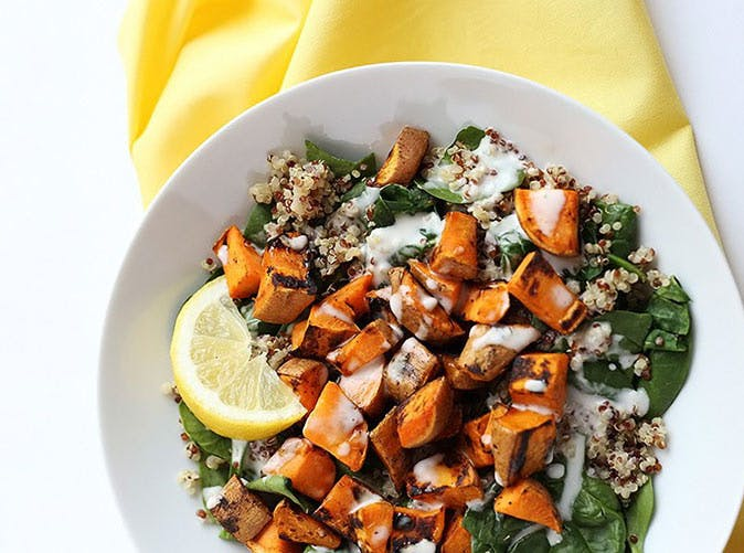 5 ingredient sweet potato spinach quinoa salad 501