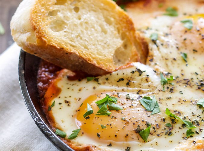 Baked Eggs in Marinara Sauce