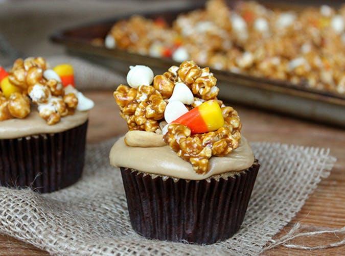 Caramel Corn Halloween Cupcakes