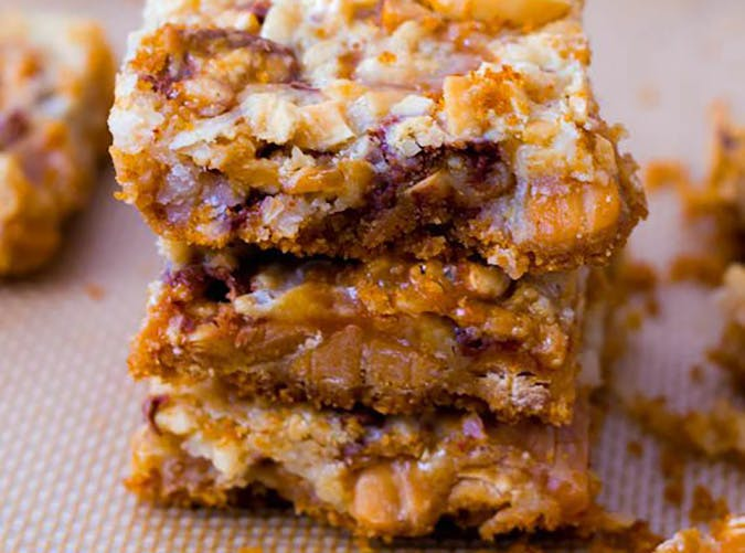 Caramel Snickers 7 Layer Bars
