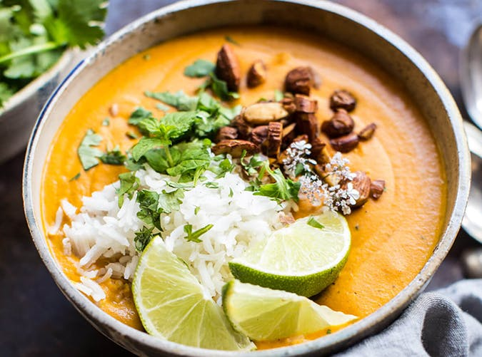 Creamy Thai Carrot Sweet Potato Soup vegetarian whole30 recipes