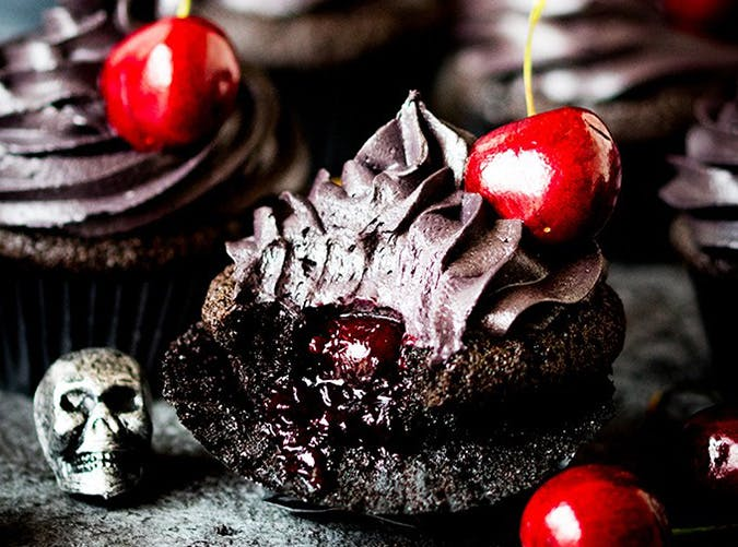 Halloween Black Cupcakes with Cherry Filling tall FS