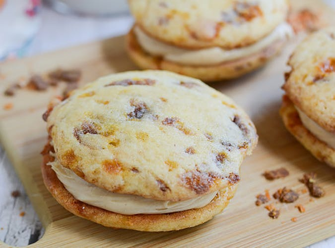 Leftover Butterfinger Candy Whoopie Pies