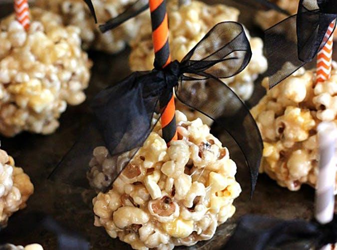 No Bake Caramel Marshmallow Popcorn Balls for Halloween
