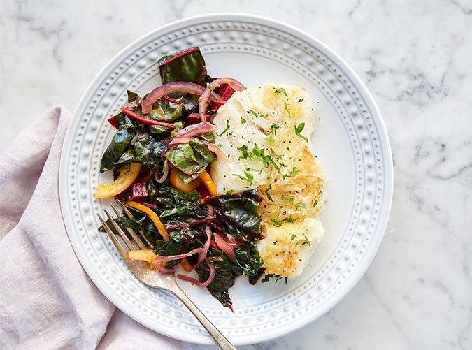 Pan Fried Cod with Orange and Swiss Chard