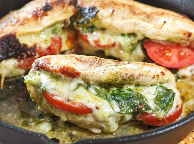 Pesto  Mozz and Tomato Stuffed Chicken Breasts
