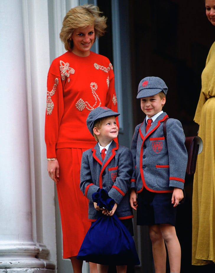 Princess Diana Prince William Prince Harry first day of school1