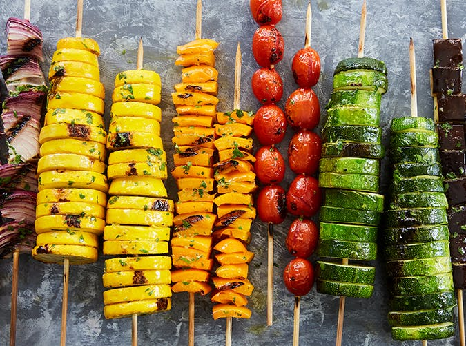 Rainbow Vegetable Skewers vegetarian whole30 recipes