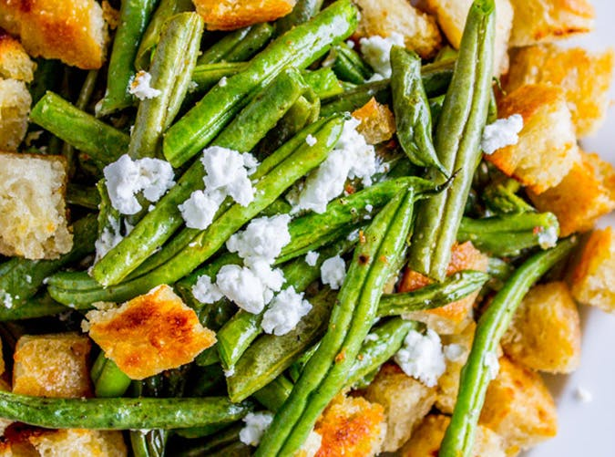 Roasted Garlic Green Beans with Fried Sourdough Recipe