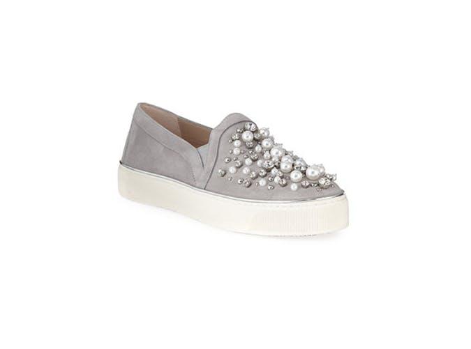 Stuart Weitzman Decor Suede Embellished Sneaker 11