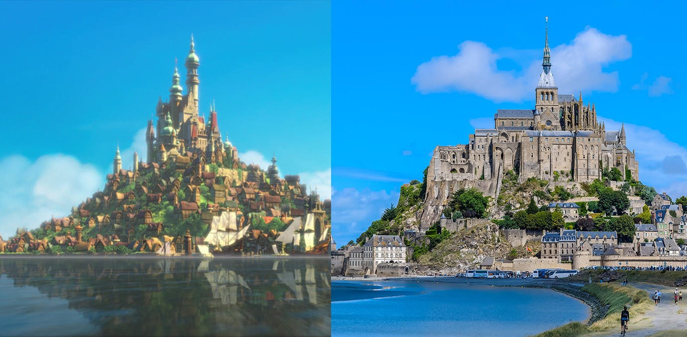 Tangled castle and real life Disney castle