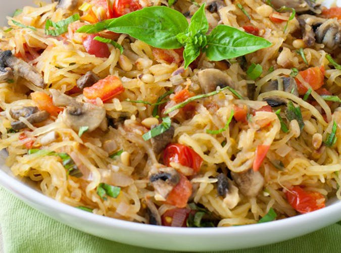 Tomato Mushroom Spaghetti Squash vegetarian whole30 recipes