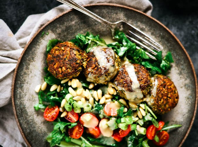 Whole30 Blender Cauliflower Falafel Tahini Bowl vegetarian whole30 recipes