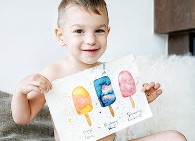 baby boy holding popsicle drawing 290