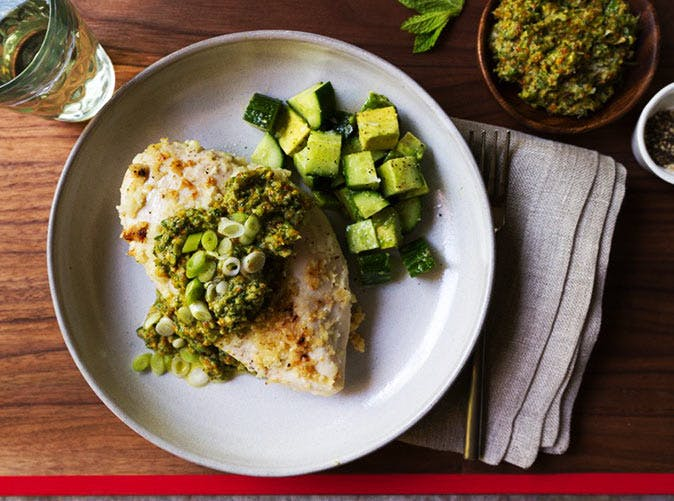 baked chicken with jalapeno pesto 501
