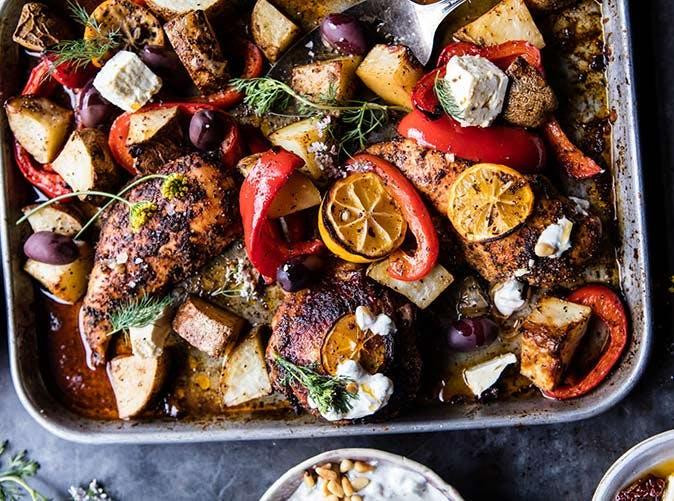 best easy greek sheet pan chicken souvlaki and potatoes 501