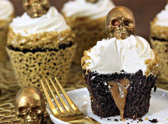 caramel stuffed chocolate halloween cupcakes