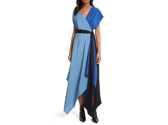 colorblock blue wrap maxi dress