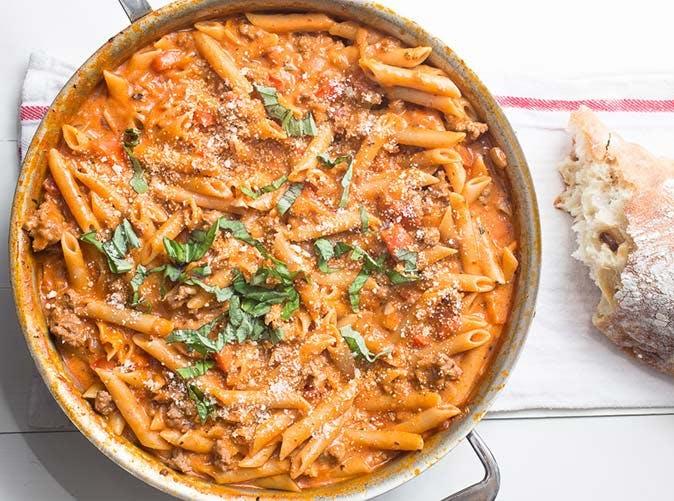 creamy sausage pasta 501
