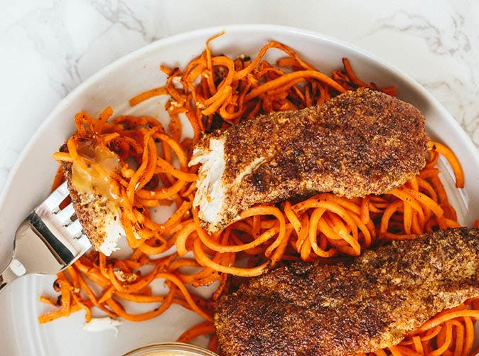 flaxseed crusted chicken tenders with spiralized sweet potatoes 501