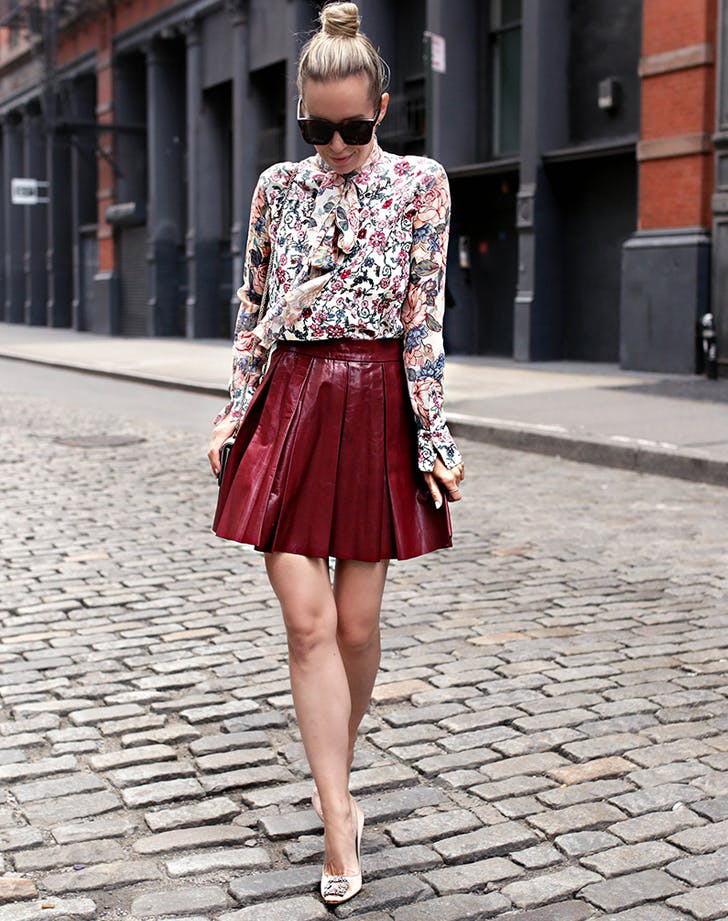floral fall outfit with skirt