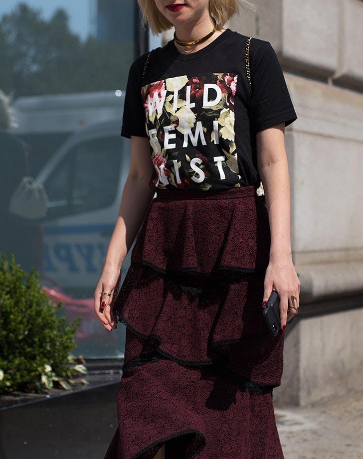 graphic tee ruffle skirt nyfw outfits NY