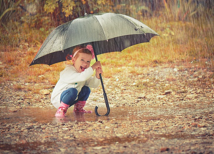 happy baby girl with an umbrella in autumn rain outside