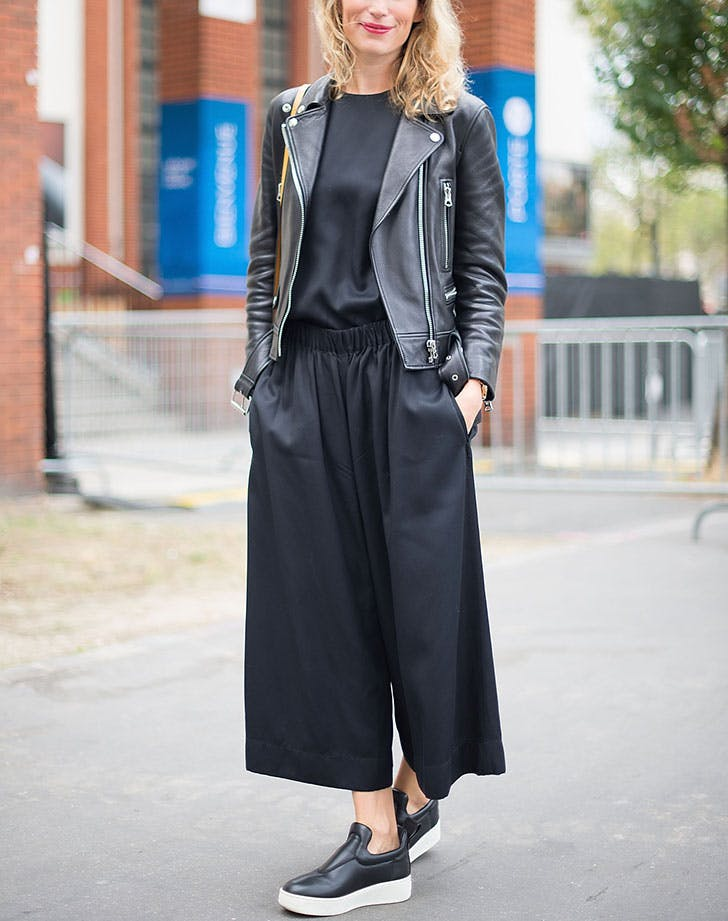 how to wear a leather jacket culottes