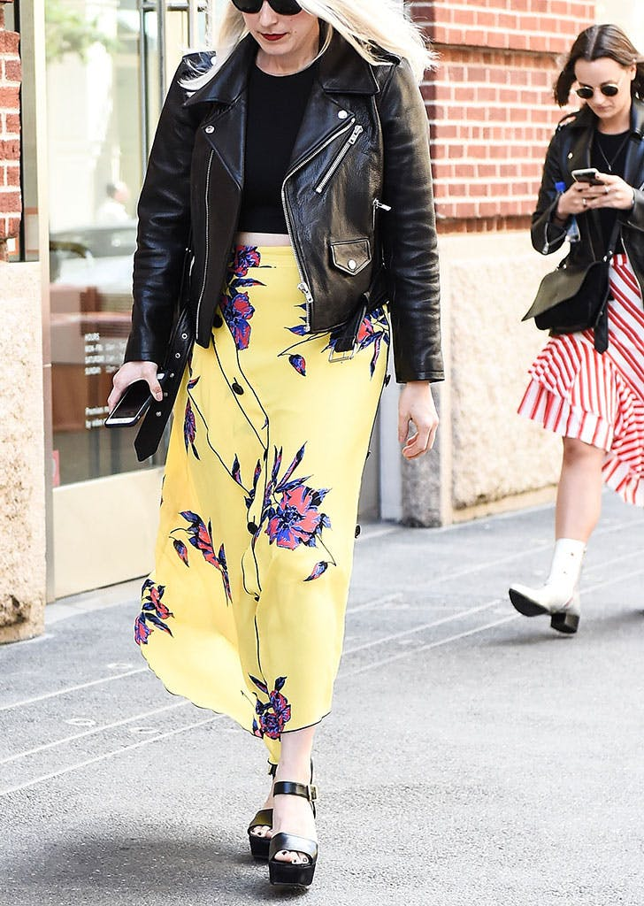 how to wear a leather jacket floral skirt