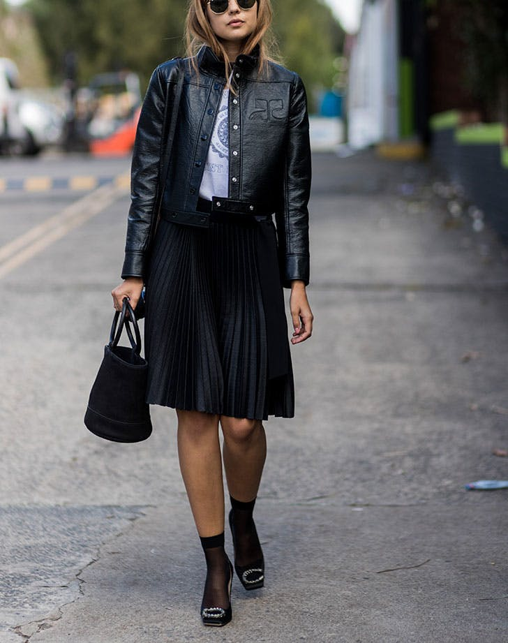 how to wear a leather jacket knee length skirt