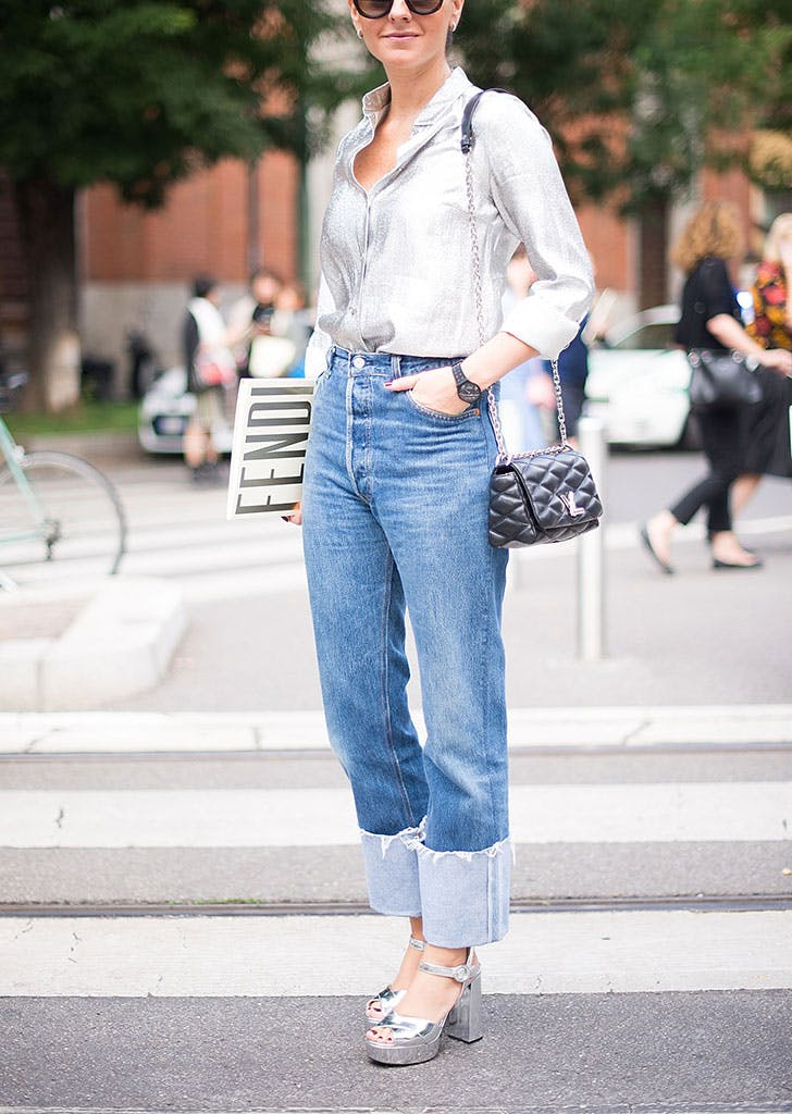 how to wear jeans to work metallic
