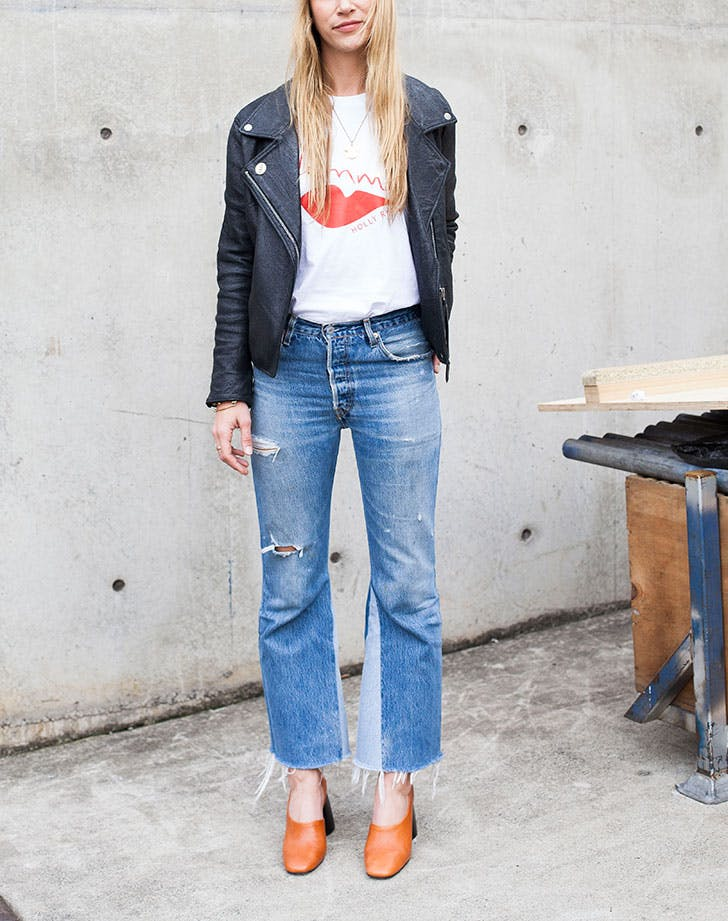 how to wear jeans to work moto jacket