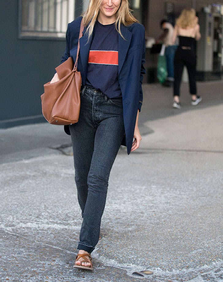 how to wear jeans to work oversized blazer