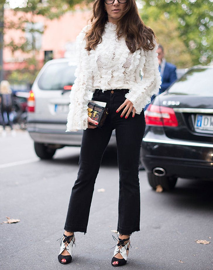 how to wear jeans to work ruffled blouse