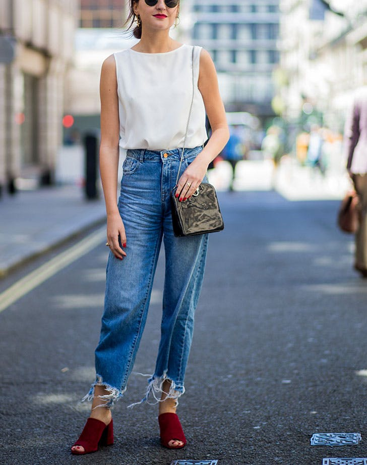 how to wear jeans to work shell top