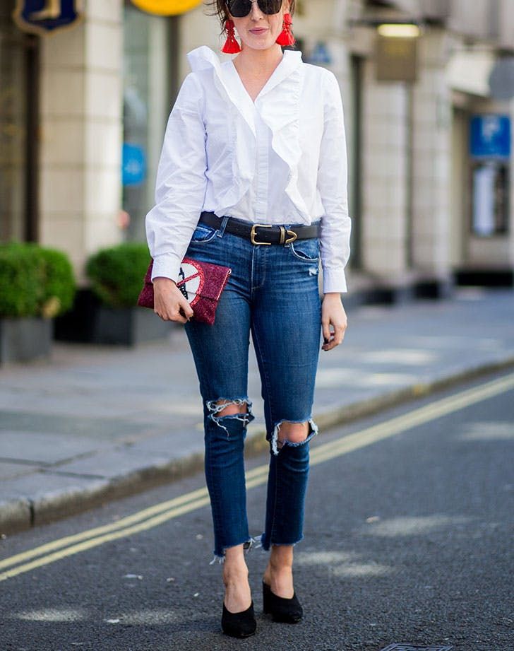 how to wear jeans to work statement earrings