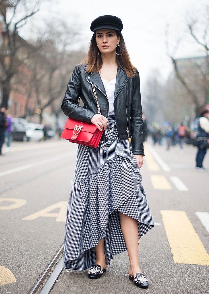 how to wear newsboy caps ruffled skirt