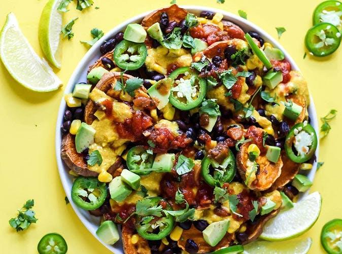 loaded vegan sweet potato nachos 501