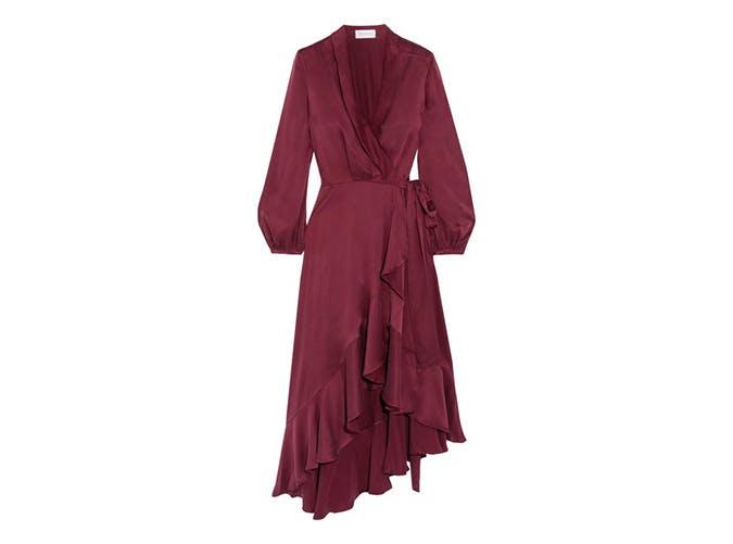 merlot midi wrap dress