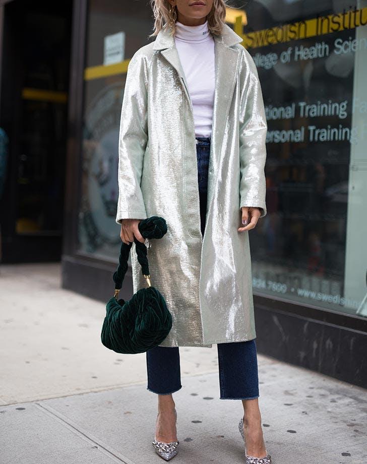 metallic coat nyfw outfits NY