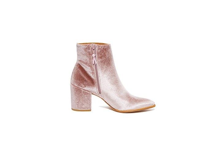 millennial pink velvet booties