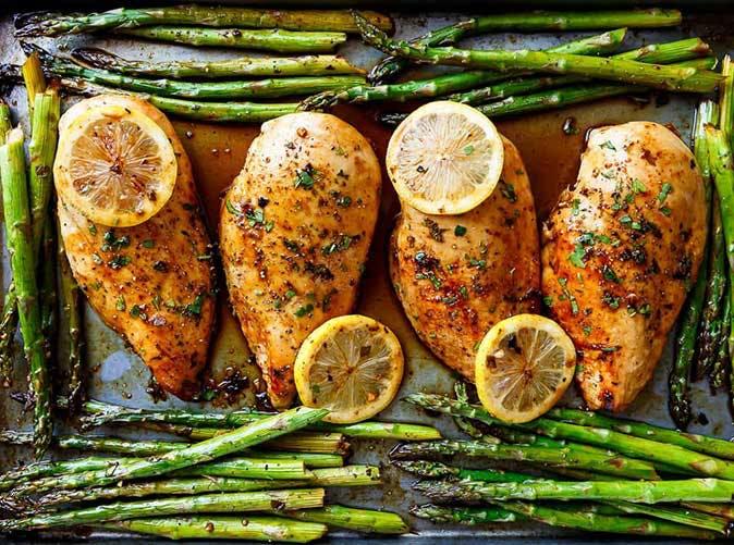 one pan honey lemon chicken asparagus 501
