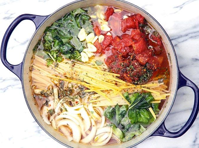 one pot tomato veggie pasta 501