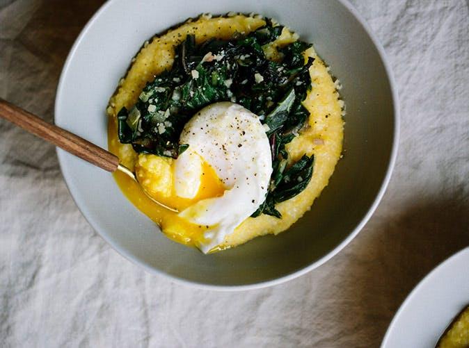 parmasan polenta greens poached eggs 501